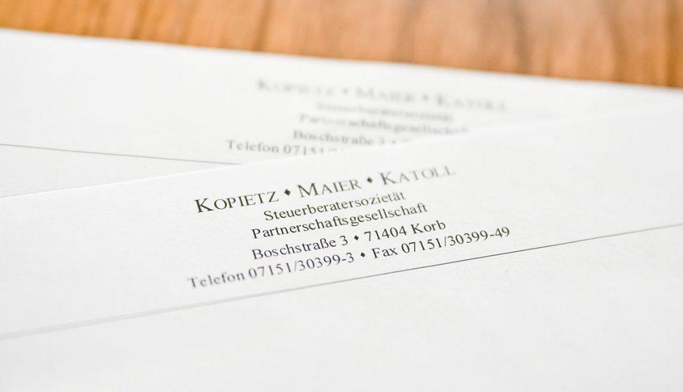 kmk Steuerberater Visitenkarte